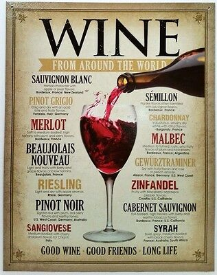 Wine Around The World - Wine Connoisseur - Typography - Collectible Tin Sign