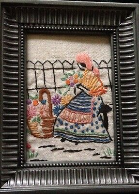 Vintage Hand Embroidered Linen Needlepoint Sampler Flower Garden Girl Picture