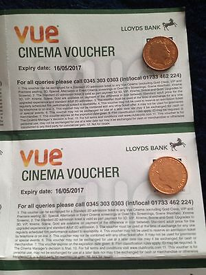 PAIR OF VUE Cinema Tickets/Vouchers for free entry to VUE Cinema-Expires20/08/17