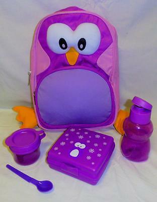 NEW TUPPERWARE PENNY PENGUINE SET DAY PACK includes sandwich square, bottle, bag