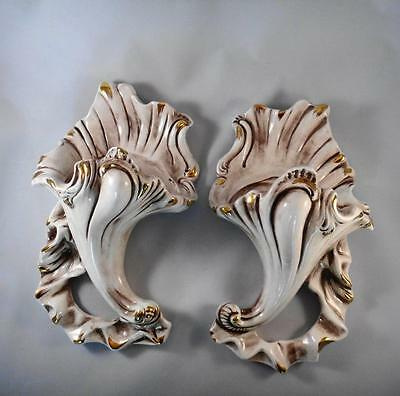 Pair of Vintage Ceramic Wall Sconces Brown Wash Glaze Gold Accents Made in Italy
