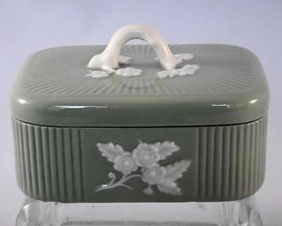Vintage Lenox China Celadon Green Apple Blossom Cigarette Box Jewelry or Trinket