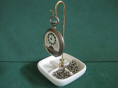 Porcelain And Solid Brass Pocket Watch Holder / Display Stand !!!!!!