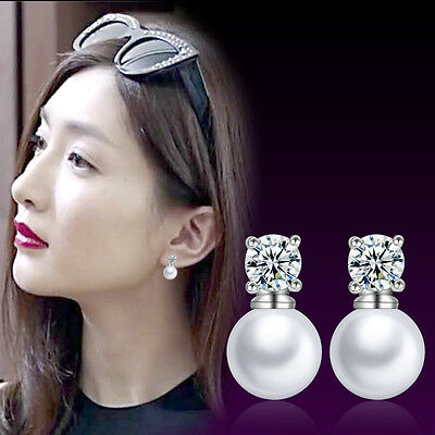 Noble Pure 925 Sterling Silver Freshwater Pearl Zircon Crystal Ear Stud Earrings