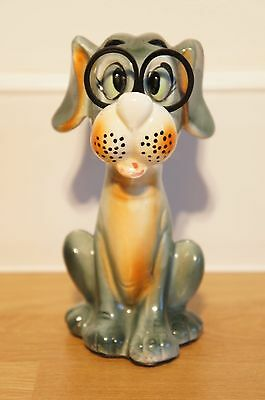 Retro Ceramic Dog, Sewing Scissor and Tape Measure Holder, Kitsch.