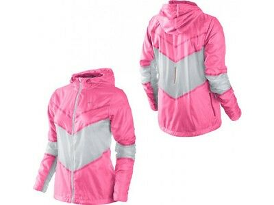 NIKE Womens Cyclone  Running Hooded Sports Jacket - Pink - Small ( 520330 121 )
