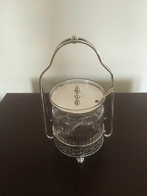 Beautiful  Silver Plated Pierced Stand And Cut Glass Lidded Preserve Jar