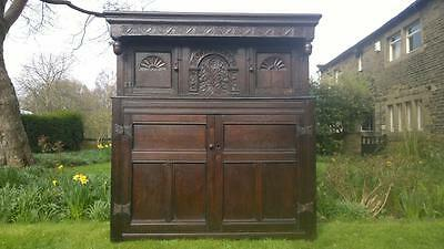 A Magnificent Provincial 18th Century Carved Oak Press / Court Cupboard