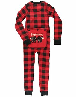 Lazy One Flapjacks Children Onesie Bear Cheeks Red Black Plaid Lounge Sleepwear