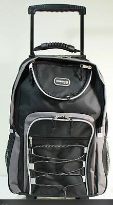 "20"" Black Large Rolling Backpack Wheeled School Bookbag Travel Carry-On Bag"