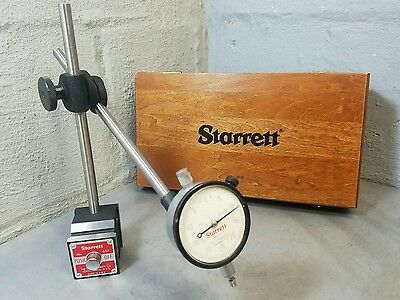 Starrett  No. 25-131 dial indicator  No. 657 magnetic base in wooden case *NICE*