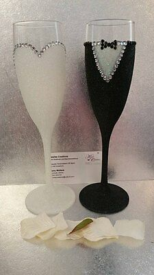 Gorgeous Set of Bride and Groom Wedding Glitter and Rhinestone Champagne Flutes