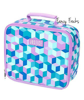 JUSTICE Girls Geometric Lunch Tote Box, NEW  Purple