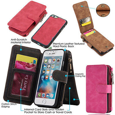 AU Luxury Leather Zipper Magnetic Detachable Flip Cover Card Slots Wallet Case