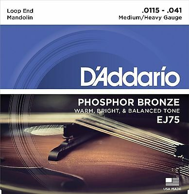 D'Addario EJ75 Phosphor Bronze Mandolin Strings Medium/Heavy Gauge Loop End