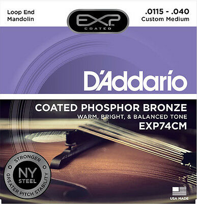D'Addario EXP74CM NY Steel/Phosphor Bronze Mandolin Strings .0115-.040 Loop End