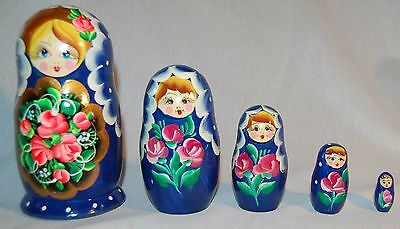 Vintage Matryoshka Russian 5 Pc. Nesting Dolls Hand Painted