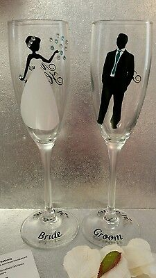 set of personalised bride and groom champagne flutes - wedding gift