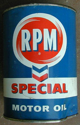 Old Original Chevron RPM Special Motor Oil Metal Oil Can 1940's Very Rare