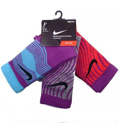New Nike Performance Cotton Lightweight Socks; YOUTH 3Y-5Y; Soft/Dry; 3 Pair