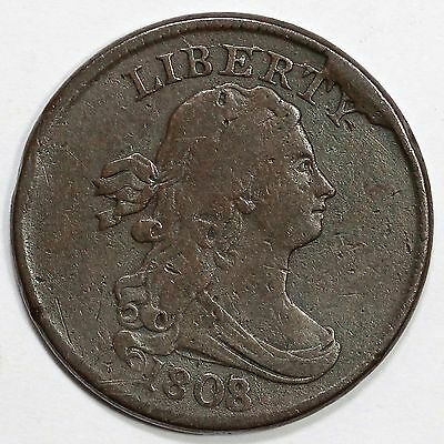 1808/7 C-2 R-3 Rare Die State Draped Bust Half Cent Coin 1/2c