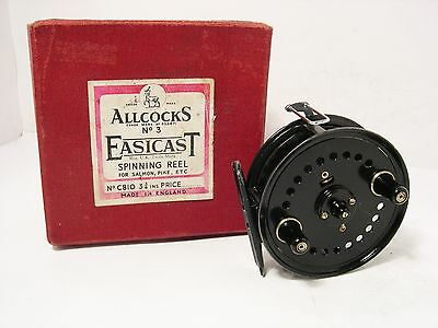 "Vintage Antique Allcock Easicast 3 ¾"" Fly Fishing reel - Complete with Box"