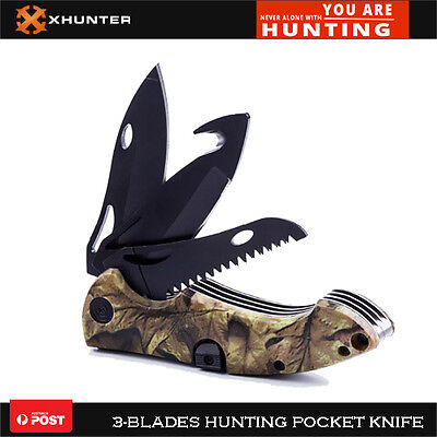 Xhunter Tactical Folding Knife Hunting Pocket Knives 3-Blades Camo Handle Sheath