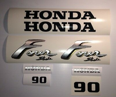 Honda 90hp 4-Stroke Outboard Decal Kit - Brushed Aluminum Marine Vinyl set