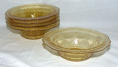 "5 Federal PATRICIAN AMBER *6"" CEREAL BOWLS*"