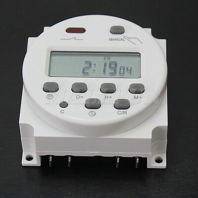 LCD Display Digital Power Programmable Timer Time Relay Switch 12V 16A White