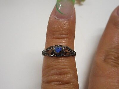 Vintage Sterling Silver Ring With Blue Stone