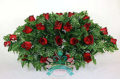 XL Beautiful Classic Red Roses Cemetery Tombstone Saddle Arrangement