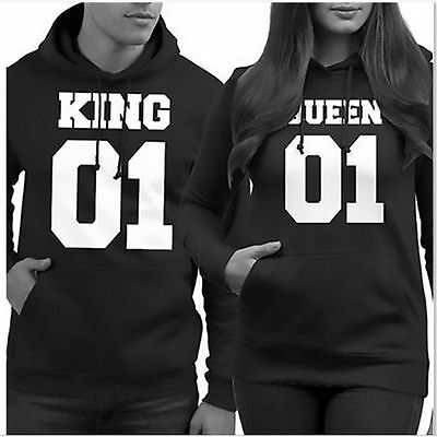 Couple Matching Cute Hoodies King 01 and Queen 01 Back Print Hooded Sweatshirts