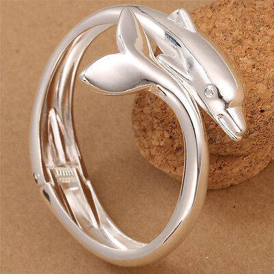 Charm Women Hot Jewelry 925 Solid Silver Dolphin Cuff Bracelet Bangle