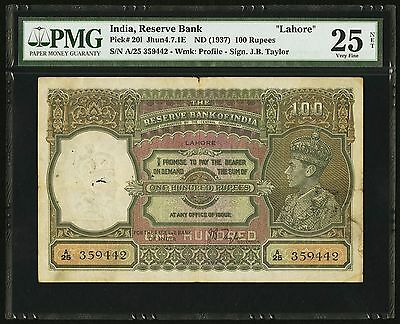 "Pick# 201 Jhun4.7.1E ""lahore"" Nd (1937) 100 Rupees India, Reserve Bank Pmg Vf-25"