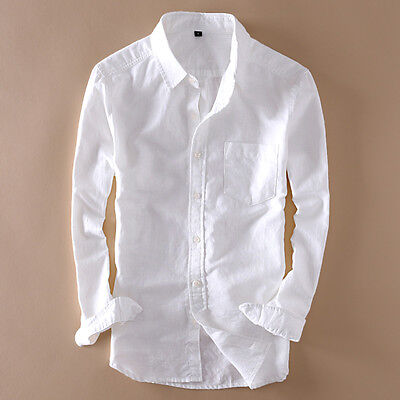 Men's Solid Full Sleeve Cotton Linen Shirts Quality Shirts Man Asian Size TS182