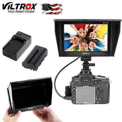 viltrox 7'' Camera HD LCD Monitor HDMI AV Video charge+Battery for Canon Nikon