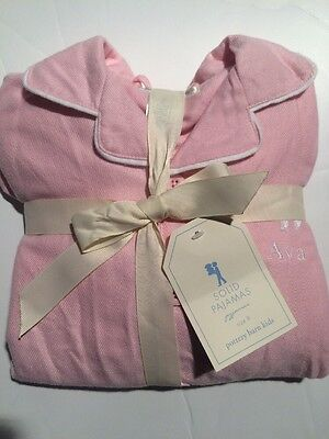 Pottery Barn Kids Solid Pink Flannel Pajamas Size 8 NWT Monogram: Ava
