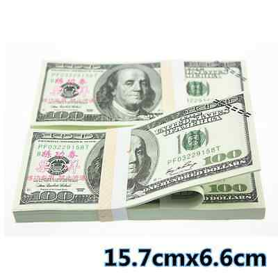 USD $100 Dollars Play Money Training Banknotes Practice New Fake Bills 100Pcs