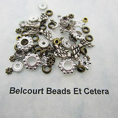 150 Assorted Metal Beads Brass and Silver 4mm 12mm Lead Nickel and Cadmium Free