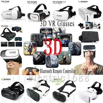 For iPhone 5S 6S 7 Plus Virtual Reality VR Headset 3D Glasses + Bluetooth Remote