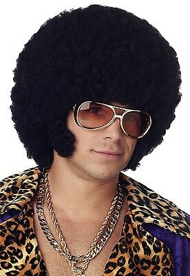 Mens 70s Black Afro Chops Wig 1970s Decade Disco Retro Costume Party Outfit Hair