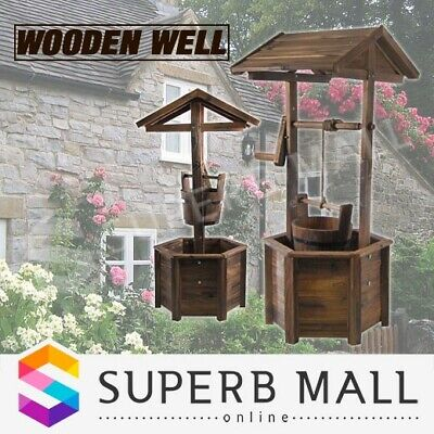 Wooden Wishing Well Garden Decor Feature Décor Timber Backyard Decoration Wooden
