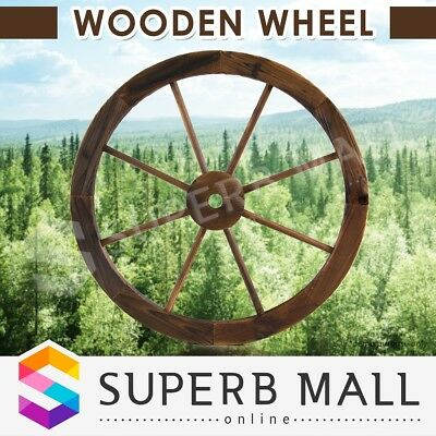 Wooden Wheel Garden Decor Feature Outdoor Wagon Large
