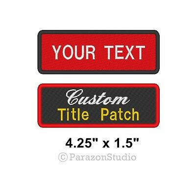 "Custom Embroidered Name Tag Sew on Patch Motorcycle Biker Badge 4.25"" x 1.5"" (A)"