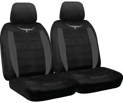 RM Williams Longhorn Black Suede Velour Car Seat Covers Size 30 RMW Pair