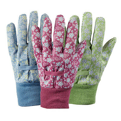 NEW Briers Falling Flower Medium Gardening Glove Set Of 3