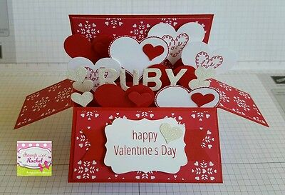 Handmade card, card in a box, PERSONALISED Valentines Day Card, red hearts, love