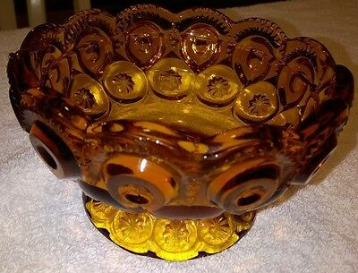 """Moon & Stars pattern by LE Smith Gold Colored Glass Dish 4"""""""