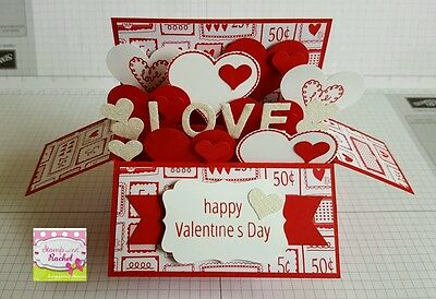 Handmade card, card in a box, Valentines Day Card, Valentines day, red love card